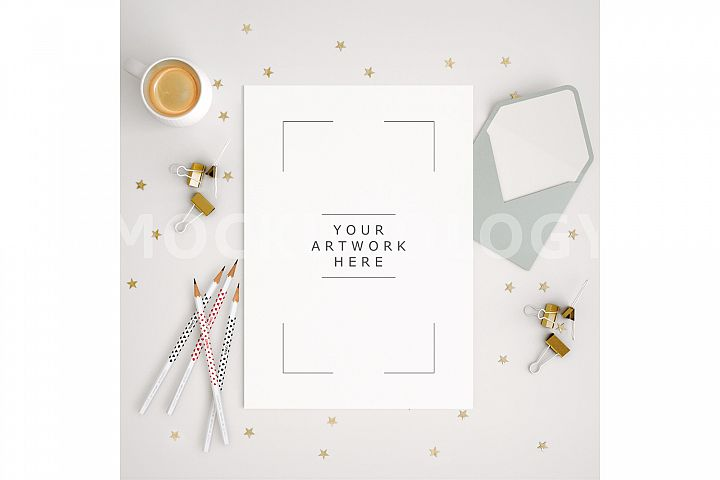 8x10 Vertical DIGITAL Mockup Desktop Paper, Top Down View Desktop Mockup, White Desk Styled Stock Pencil Stars Product, INSTANT DOWNLOAD