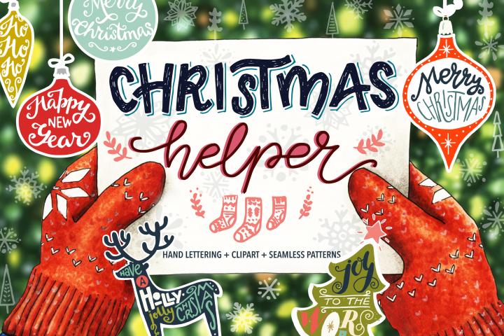 Christmas Helper Lettering & Clipart