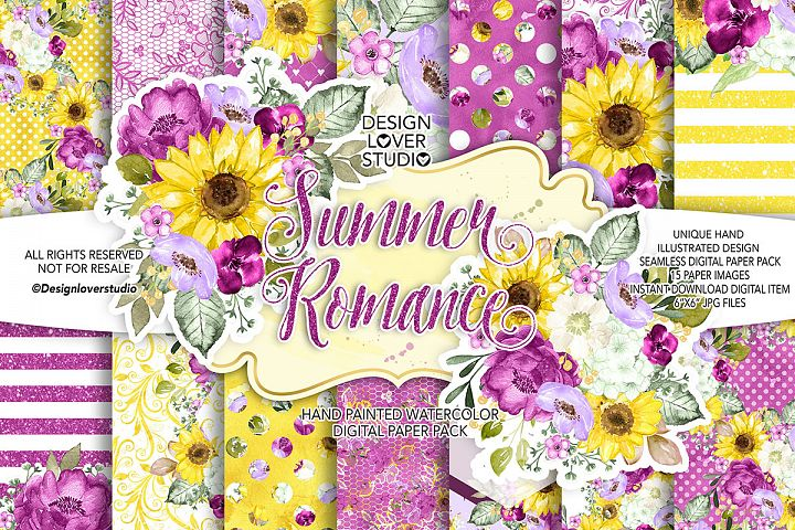 Summer Romance digital paper pack