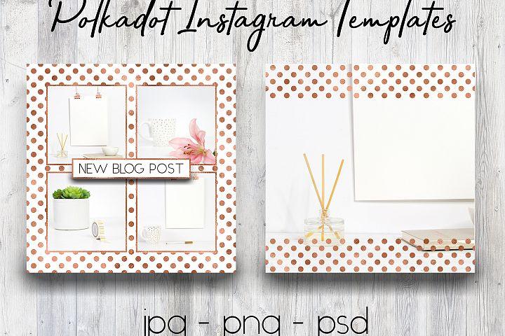 Rose Gold Polkadot Instagram Templates | Social Media Templates