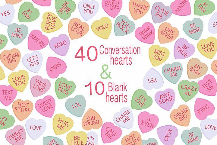 Conversation Hearts, Valentine Clipart