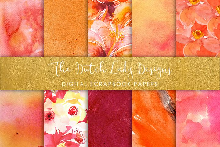 Artistic Orange Watercolor - Scrapbook Papers