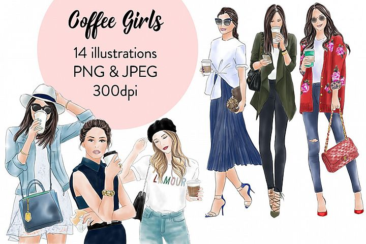 Coffee girls watercolour illustration clipart - Free Design of The Week
