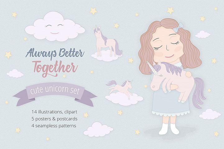 Cute Funny Unicorn Illustration Set - Free Design of The Week