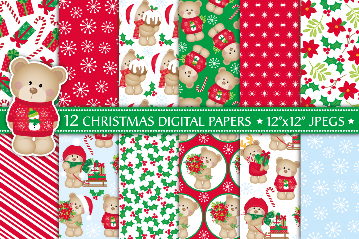 Christmas digital papers, Christmas bear digital papers, Christmas cute bears, Christmas patterns, Christmas digital scrapbook papers
