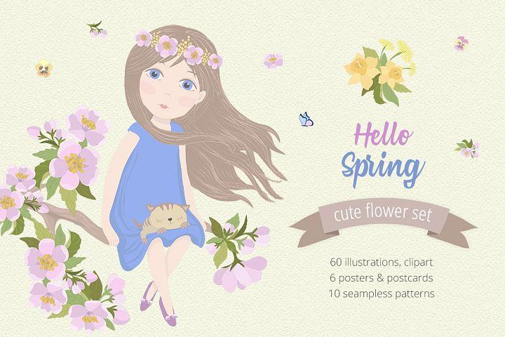 Hello Spring Illustration Set