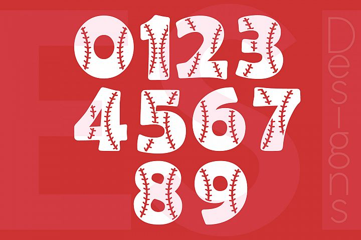 Baseball Numbers Design Set - 0-9 example 1