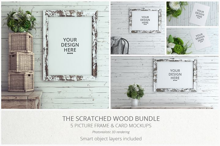 Scratched Wood MockUp Bundle  - Free Design of The Week