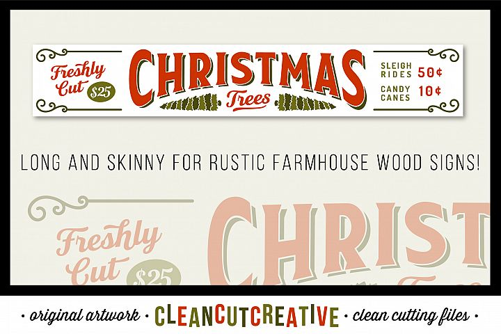 Freshly Cut Christmas Trees! - Long and skinny Rustic Farm Wood Sign - SVG DXF EPS PNG - Cricut & Silhouette - clean cutting files