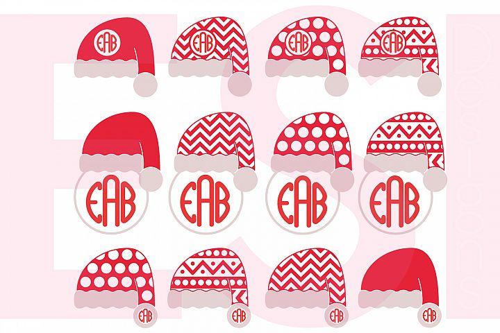 Santa Hat Monogram Designs Set