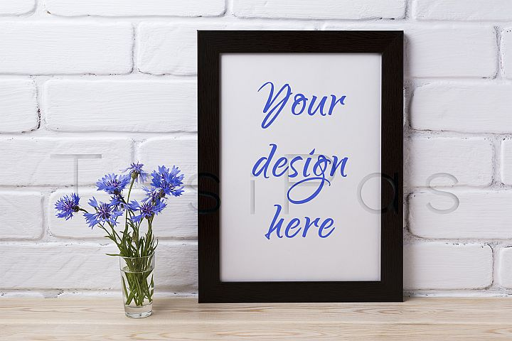 Black brown poster frame mockup with cornflower