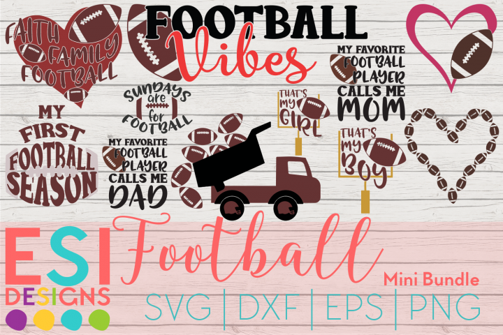 Football Mini Bundle| SVG, DXF, EPS & PNG