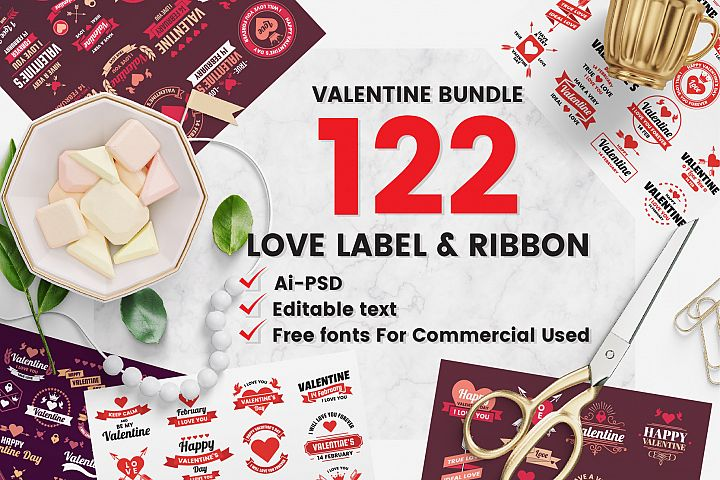122 LOVE LABEL & RIBBON