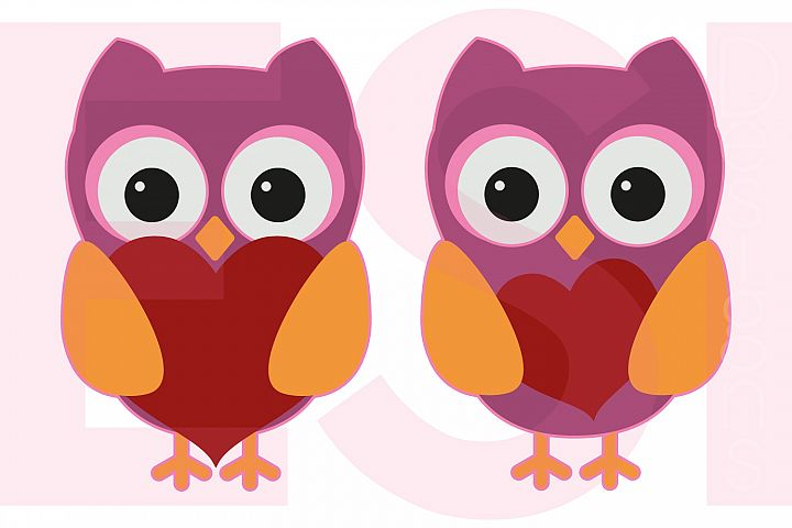 Owls with Hearts - Valentines - Love