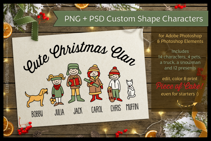 Cute Christmas Clan - Photoshop Edition - PSD and PNG