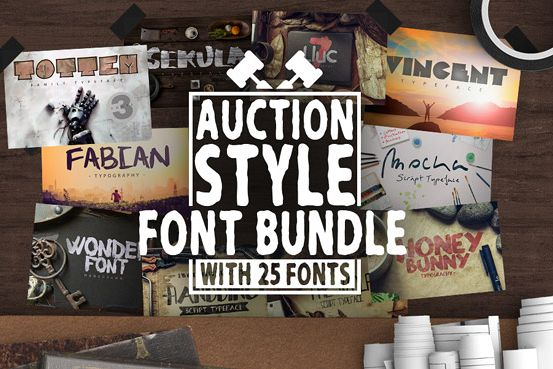 Auction Style Fonts Bundle