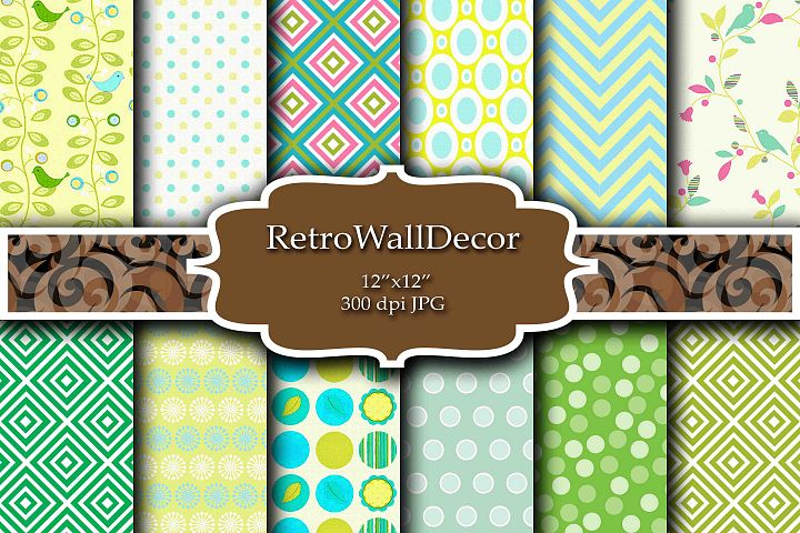 Green Yellow and Blue digital papers