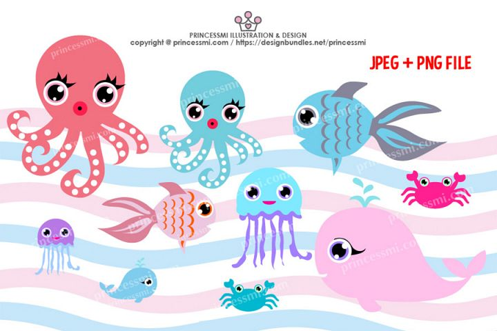 Collection of ocean animals, Octopus, Goldfish, Whale, crab, Jellyfish clipart set