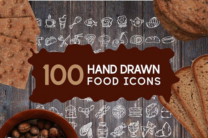 100 Hand Drawn Food Icons