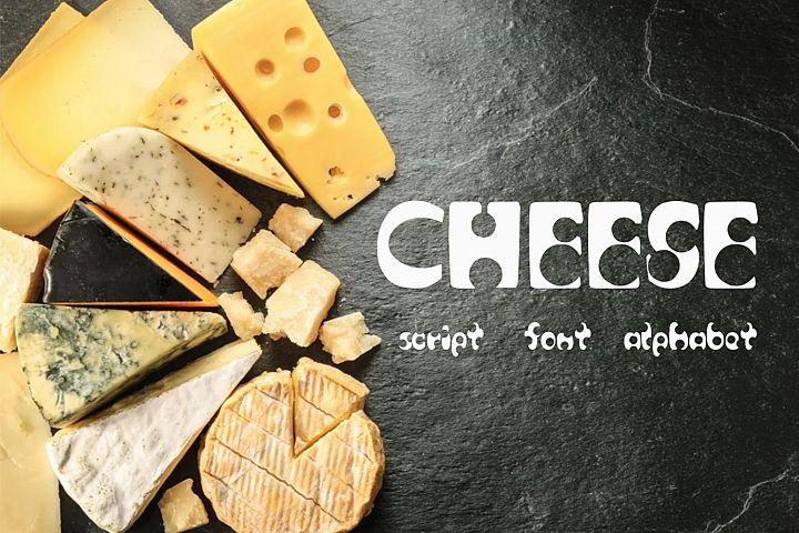 Cheese script / font / alphabet