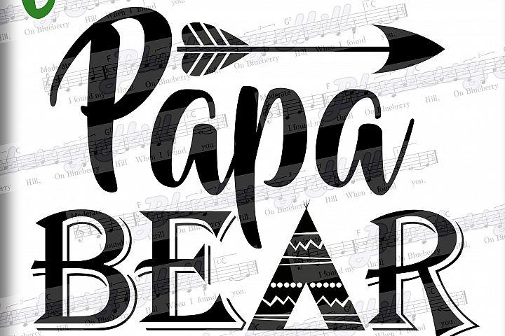 Papa bear SVG - Papa svg digital - Papa Bear with Arrow - Papa bear clipart - Papa SVG file - DIY- Svg - Dxf- Eps - Png -Jpg - Pdf