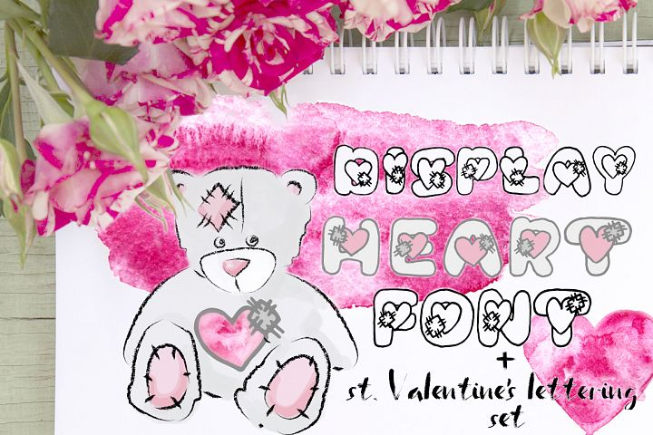 Saint Valentins Day lettering set