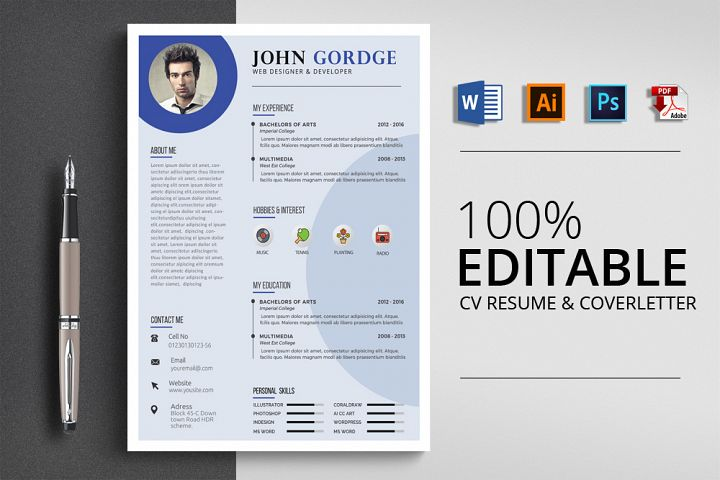 Clean Job CV Resume Word
