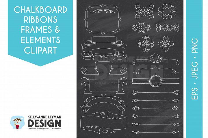 Chalkboard Digital Ribbon Clipart, Design Elements, Dividers