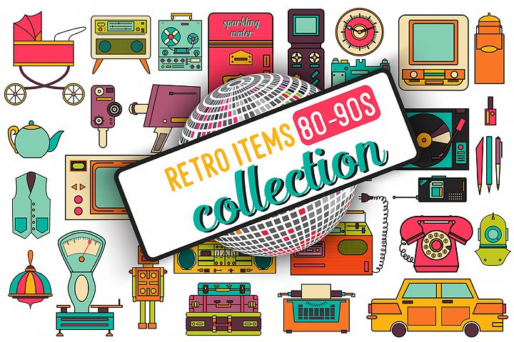 32 retro icons 80-90s collection. - Free Design of The Week