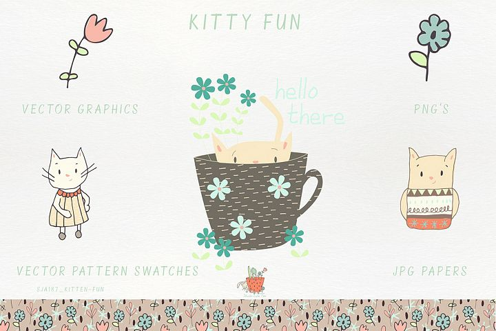 Kitty Fun Vector Swatches Patterns - Free Design of The Week