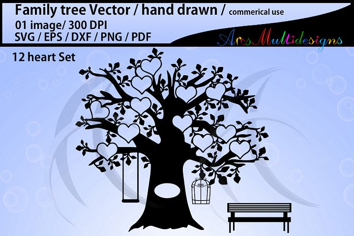 family tree clipart SVG, EPS, Dxf, Png, Pdf, Jpg / family tree silhouette / hand drawn family tree svg / vector / Commerical use / 12 heart set