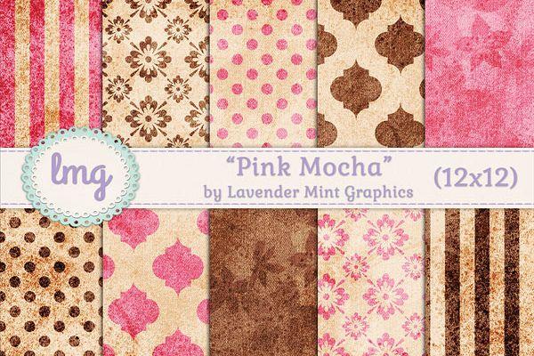 Pink and Brown Digital Scrapbook Paper
