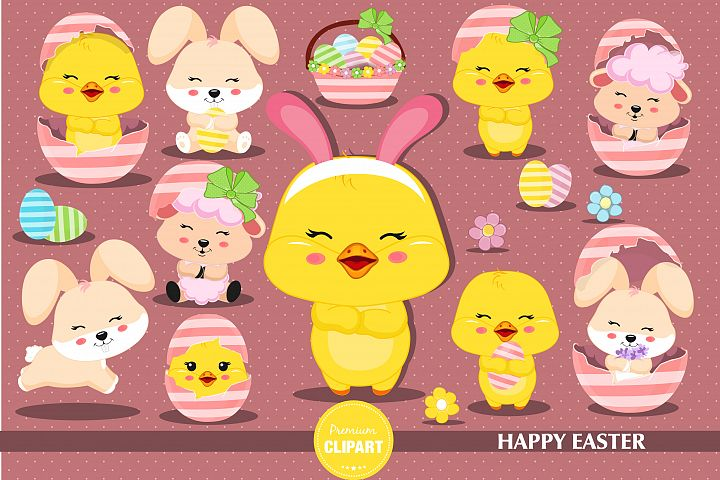 Easter chick  illustrations, Easter graphics