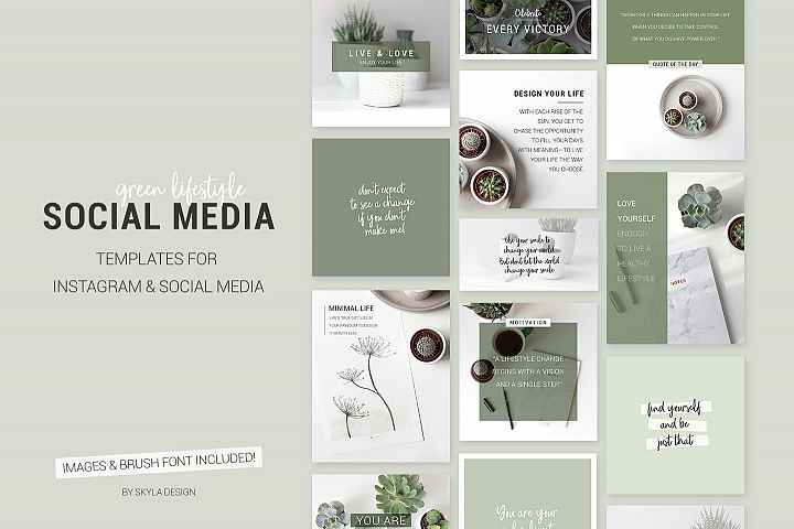Green lifestyle social media templates for Instagram, Facebook & Bloggers