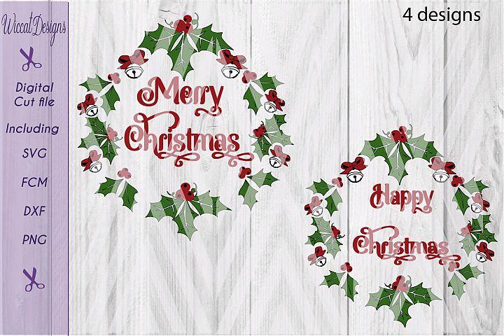 Christmas wreath svg, branch svg,  Christmas bells svg, happy Christmas svg,