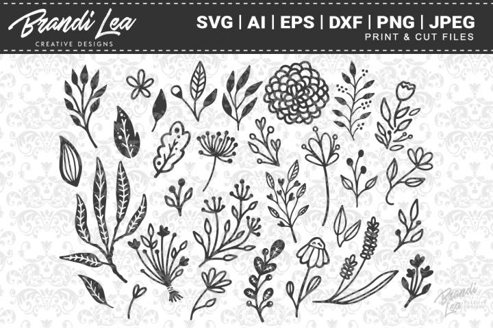 30 Hand Drawn Florals SVG Cutting Files
