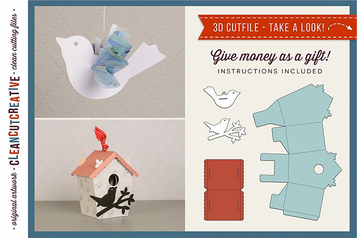 Give money - Cash gift - Money Bird & Birdhouse 3D craft - SVG DXF EPS PNG - for Cricut & Silhouette - clean cutting files