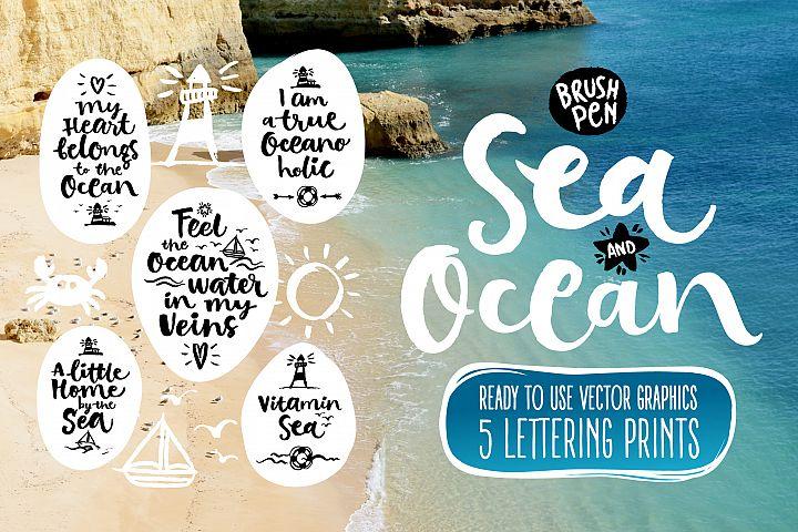 Vector SEA and OCEAN brushpen set