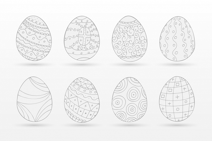 Hand drawn easter eggs-doodle style