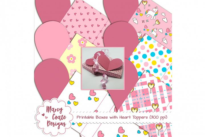 Printable Heart Boxes (set of 6 different designs)