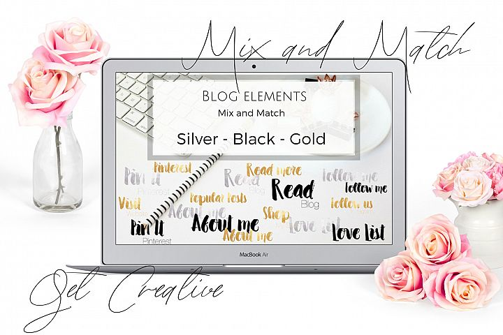 Blog elements - Black, Gold and silver