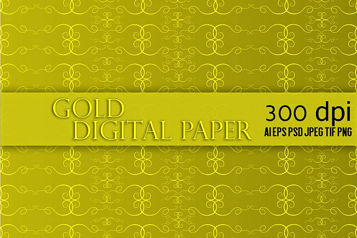 Gold  Digital Paper Pack