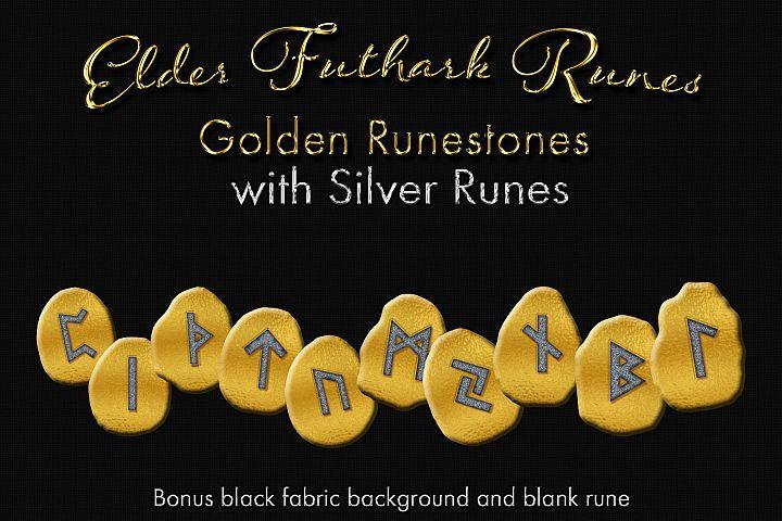 Elder Futhark Runes - Golden Runestones with Silver Runes