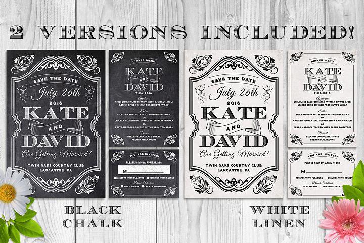 Elegant Chalk Wedding Invite Bundle