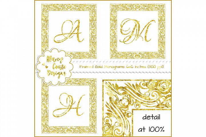 Framed Gold Monograms - Alphabet Clipart (PNG)