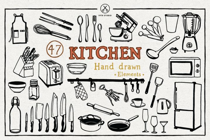 Kitchen Hand Drawn Illustration Pack - SVG DXF EPS PNG