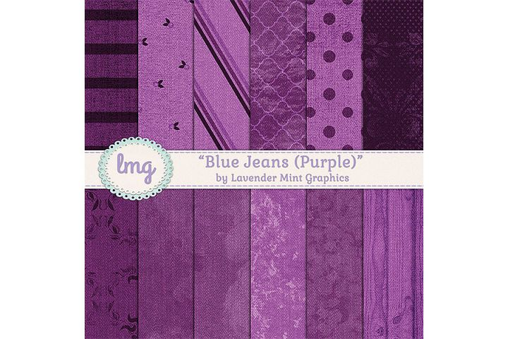Purple Denim Blue Jean Digital Paper