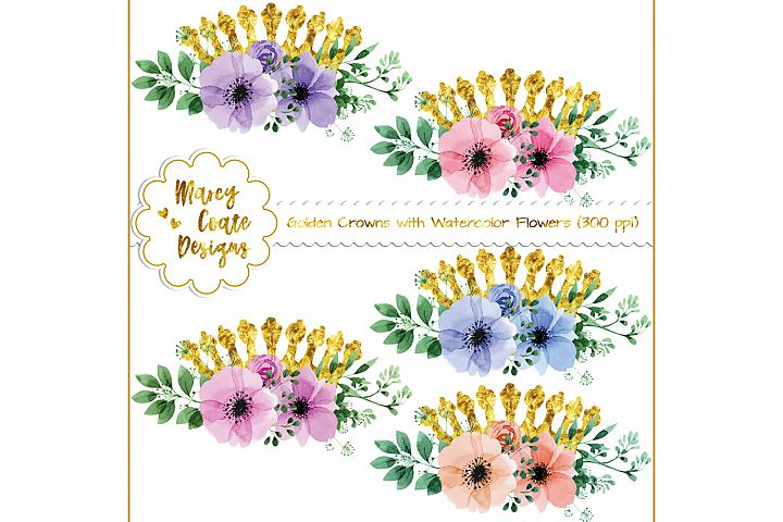 Golden Crowns with Watercolor Flowers (PNG)