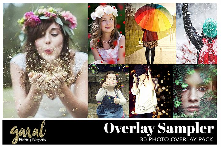 OVERLAY SAMPLER 30 pack, photoshop overlays, rain, snow, glitter blowing , bubbles, natural light, petals, fireworks, photoshop overlay