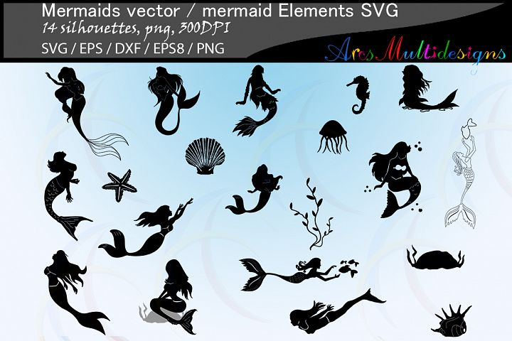 Mermaid silhouette / water girls / High Quality / beauty girl silhouette / mermaid vector / mermaid vector / EPS / PNG / SVG / DXf / mermaid elements